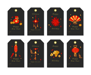 Vector linear design for Chinese New Year greetings with traditional elements and itams on white background. Christmas tags set with typography and colorful icon.
