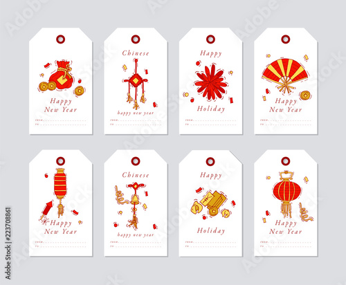 vector linear design for chinese new year greetings with traditional elements and itams on white background