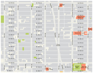 new york city, theater district, midtown manhattan vector map