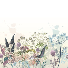 Beautiful vector hand drawn flowers illustration for design