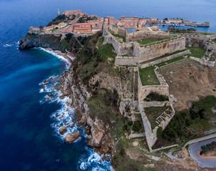 Foto auf Leinwand Befestigung Aerial view of the ancient fortress in Portoferraio on Elba island, Italy. Stone Forte Falcone