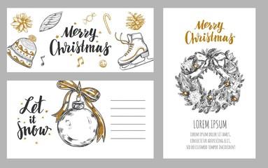 Merry Christmas festive Winter cards . Design template