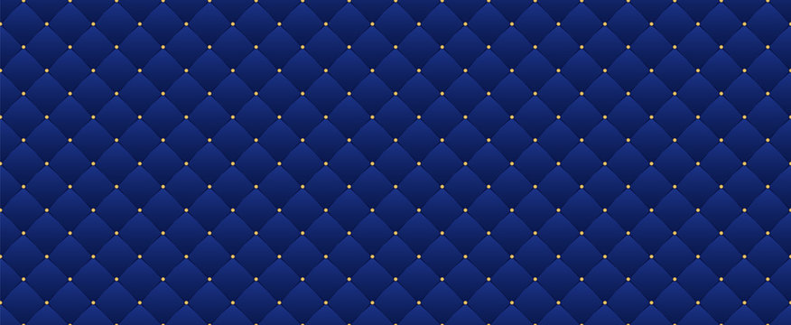 Navy blue seamless pattern in retro style with a gold crown. Can be used for premium royal party. Luxury template with vintage leather texture. Background for king and little prince. Invitation card