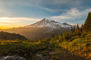 Mount Rainier Hiking at Sunset Wall mural
