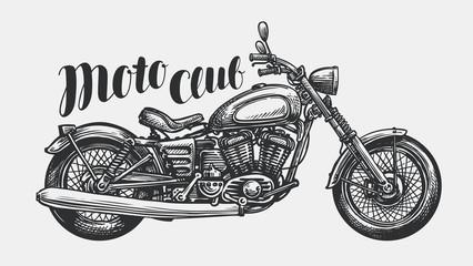 Motorcycle sketch. Hand-drawn vintage motorbike, vector illustration