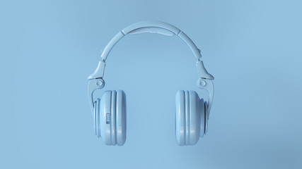 Pale Blue Modern Headphones 3D illustration 3d render