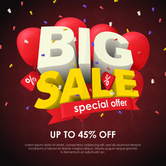 Sale banner template design. Big sale special offer. Seasonal discounts. 3d letters and red balloons on a dark background. Sale poster for the site and promo ads. Fashionable vector Illustration