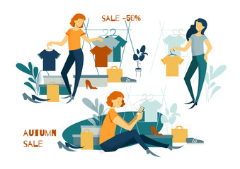 Young woman shopping. Online shopping. Purchases. Clothes and footwear