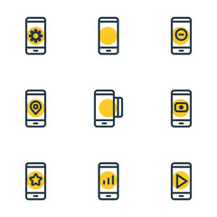 Vector illustration of 9 telephone icons line style. Editable set of communication, network, credit card and other icon elements.