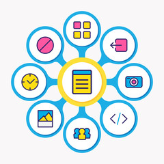 Vector illustration of 9 app icons colored line. Editable set of thumbnails, time, ban and other icon elements.