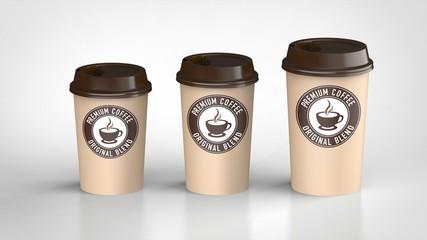 コーヒーカップ 3サイズ 茶色ロゴ入り