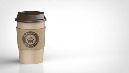 コーヒーカップ 茶色 ロゴ入りスリーブ 左