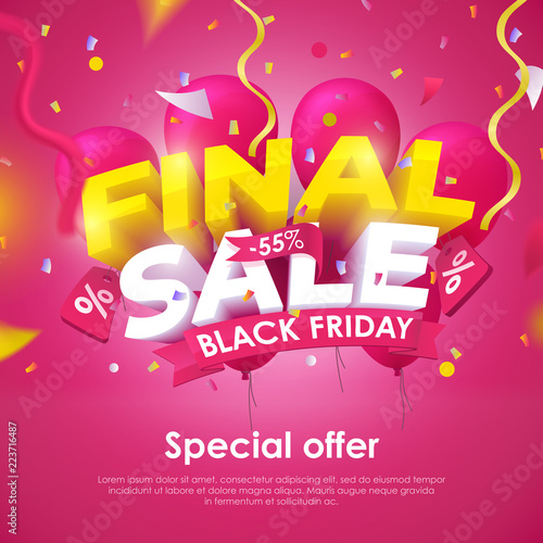 e81b0a2497 Black Friday banner template design. Beautiful discount and promotion  banner. 3d inscription