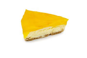 orange jelly cheesecake isolate on the white background