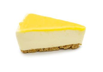 Lemon lime cheesecake isolate on white background