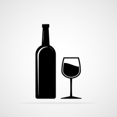 Bottle and a Glass of wine. Vector illustration