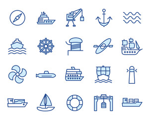 Hafen, Schiffe / Maritim Vector Icon Illustration Set