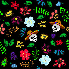 Skull in the floral garden. Holiday illustration for Day of the dead or Halloween.