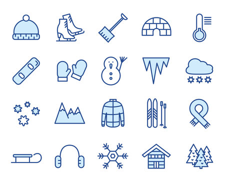 Winter Vector Icon Illustration Set