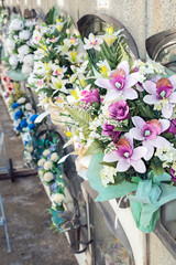 Flowers in a cemetery