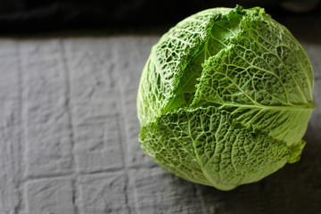 savoy cabbage. Top view. food background copy space