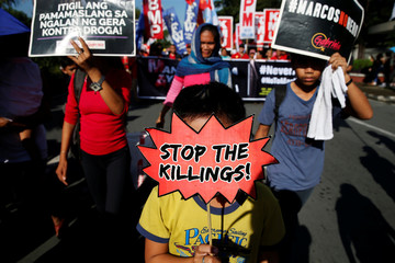 People display placards during a protest against the government of President Rodrigo Duterte on anniversary of the 1972 Martial Law declaration in Manila