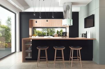 Fototapeta Nowoczesna kuchnia z czarnymi frontami i drewnianym blatem obraz