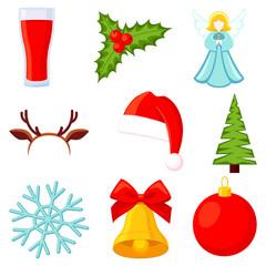9 colorful cartoon christmas elements set