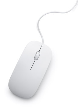 Top view of white computer mouse