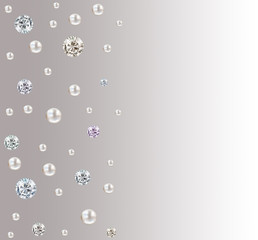 Wedding diamond and pearl mother square isolated on grey and white satin gradient background