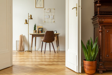 Green plant by white door into a freelancer's home office interior with golden, industrial floor lamp by a wooden desk