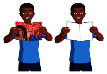 Illustration of a black boy reading a comic book and in version two the same black boy reading a book with blank cover pages on a white background.