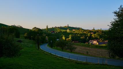 Austria Vineyards Sulztal an der Weinstrasse south Styria , wine country tourist spot. Road through vineyards