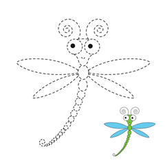 drawing worksheet for preschool kids with easy gaming level of difficulty. Simple educational game for kids. Illustration of funny dragonfly for toddlers