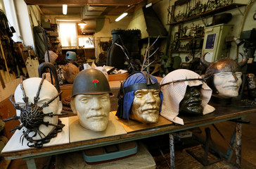A collection of forged headwear for busts of Soviet state founder Lenin, created by blacksmith Kolchin, is on display in Krasnoyarsk