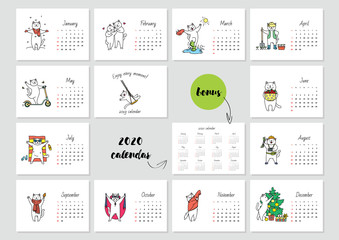 Enjoy every moment! Monthly calendar 2019 template with a cute white cat enjoying seasons. Bonus - 2020 calendar. Vector illustration 8 EPS.
