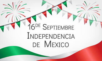 Announcement about day of independence of Mexico with flags. Greeting card with holiday, fireworks and festive flags. Vector illustration.