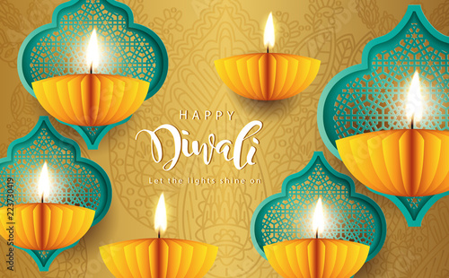 Happy diwali paper graphic of indian diya oil lamp design the