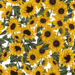 Подсолнухи. Бесшовный фон в стиле винтаж. Цветы. Растительный узор.