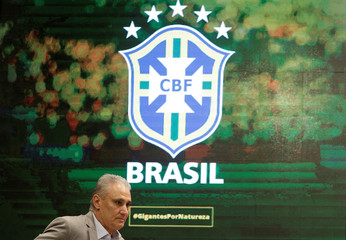 Brazilian national team head coach Tite arrives to a news conference in Rio de Janeiro
