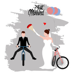 Bride and groom on bicycles. Just married couple. Marriage concept image. Vector illustration design