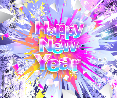happy new year theme bright multicolored banner