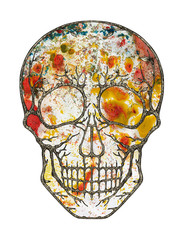 Art Surreal Abstract Skull. Hand painting and make graphic design.