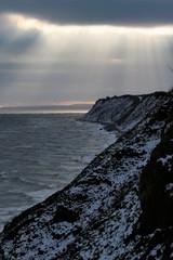 scenic sunbeams in winter at the Baltice Sea
