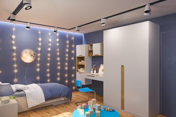 3d render of the children's bedroom in deep blue color. Visualization of the concept of interior design kids room for boy in a space theme.