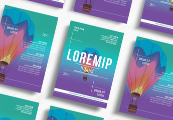 Event Flyer Layout with Hot Air Balloon