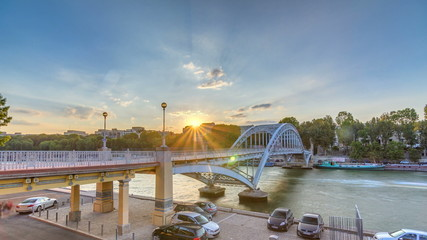 Passarelle Debilly footbridge at sunset timelapse with tourists