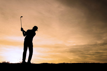 Silhouette golf athletes with the sky beautiful sunsets