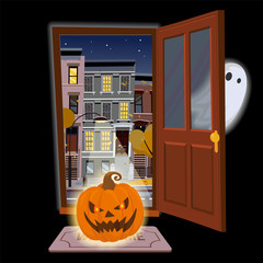 Flat halloween door with angry glowing pumpkin and a Ghost hiding. Open door into autumn starry night view with yellow trees. Cartoon style vector illustration. Street cityscape on black background