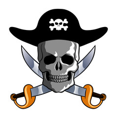 Vector illustration of a skull wearing pirate hat with swords. Clip-art for t-shirt and tattoo work.